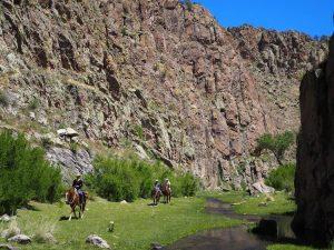 Horseback Riding through incredible canyons at Geronimo Trail Guest Ranch, New Mexico