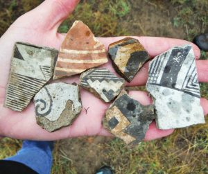 Ancient pottery pieces found on Geronimo Trail Guest Ranch: Native American culture and history.
