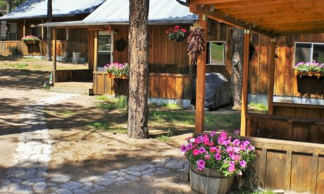 The exterior of our beautiful cabins on Geronimo Trail Guest Ranch.