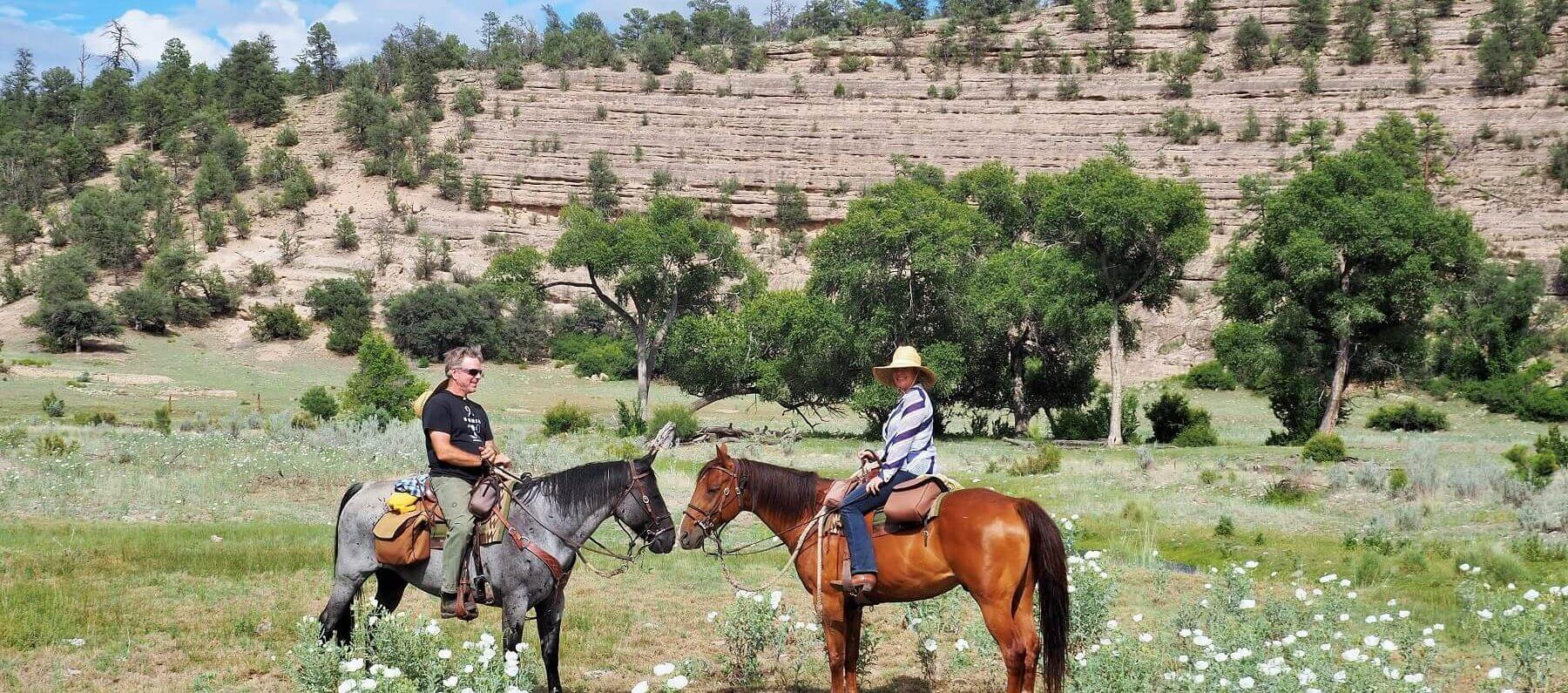 2 horses and people on a New Mexico ranch vacation